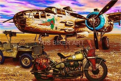 Harley Davidson WLA motorcycle Willys Jeep B25 Bomber World War 2 Art Print