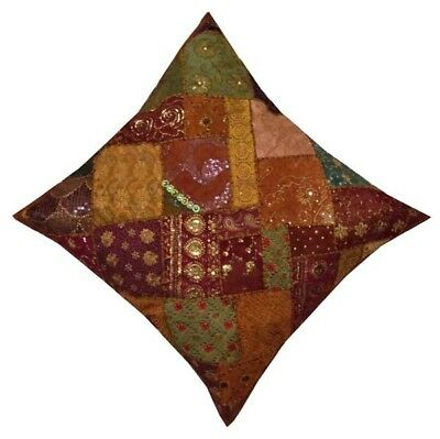 """30"""" Copper Traditional Home Art Décor Sari Embroidery Throw Cushion Pillow Cover"""