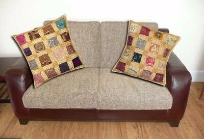 """Sale! 16""""-2 Off-White Boho Bead Sari Handcrafted Bed Throw Cushion Pillow Covers"""