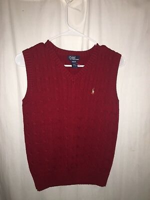 Boy's Polo by Ralph Lauren Cabled Sweater Vest Red Size 12/14