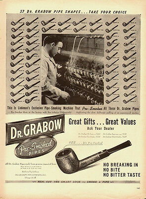 1950's Vintage ad for Dr. Grabow Piper`pre-smoked.