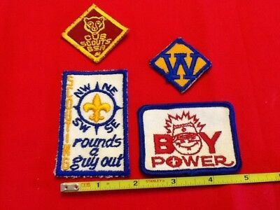 4 Vintage Boy Scout Patches! Webelo, Cub Scout, Boy Power, And Scouting Rounds