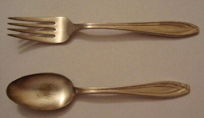 Early Vintage National Airlines Silverplate Spoon & Fork International Silver Co