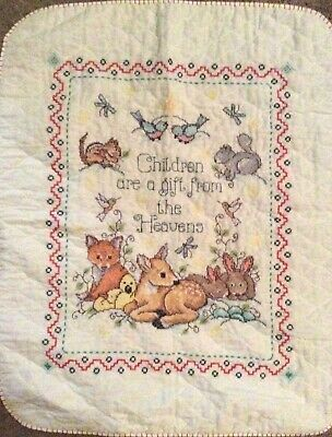 "Handmade Cross Stitch ""Children Gift Heavens"" Boy / Girl Baby Quilt Nursery"