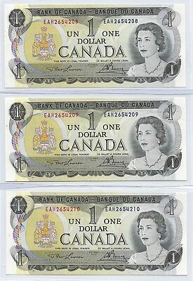 Canada 1973 run of 3 x $1, Lawson & Bouey, Pick# 85a,  Gem Uncirculated