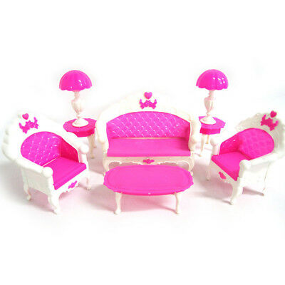 EP_ 6 Pcs/set Doll House Furniture Living Room Sofa Chair Armchair for Barbie He