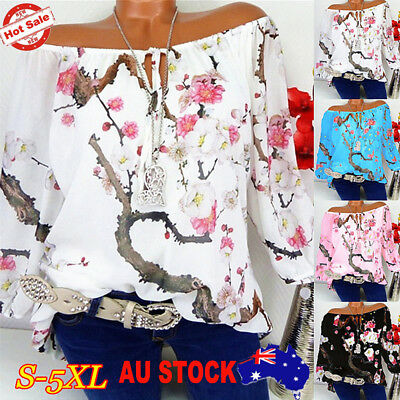 Womens Floral Print Shirt Blouse Long Sleeve Off Shoulder Casual Tops Plus Size