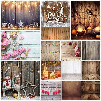 5x7FT Wood Floor Wall Vinyl Studio Photography Backdrops Background Props Xmas