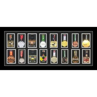 Sport Medal Display Frame for Large Sport Medal Case With Ribbons Black Mount