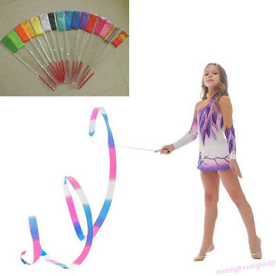 2M/4M Dance Ribbon Gym Rhythmic Art Gymnastic Ballet Streamer Twirling Rod Stick