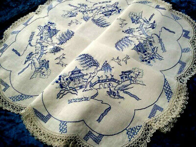Fabulous Blue Willow   ~ Vintage Hand Embroidered Tablecloth