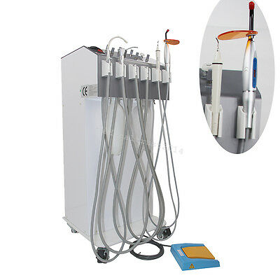 MOBILE Dental Delivery Cart W AIR Compressor +Ultrasonic scaler LED Curing LIGHT