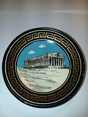 Greece PARTHENON of ATHENS Handmade POTTERY Wall Hanging Decor 4 Inch PLATE 🏛