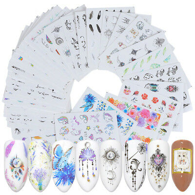 24/40 Sheets Nail Art Stickers Flower Watercolor Water Transfer Decals DIY Tips