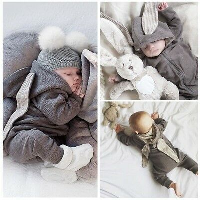 Winter Warm Infant Kids Baby Hoodies Bunny Ear Gray Outfits Romper Jumpsuit AU