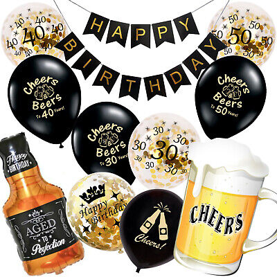 Cheers and Beers to 30 Years | 30th 40th 50 Birthday Decorations Balloons Banner