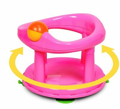 Baby Swivel Bath Seat Pink Plastic Babies Hands Free Bathing Chair 6-12 Months