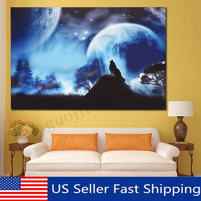 Wolf Moon Modern Canvas Print Painting Picture Home Room Wall Art Decor Unframed