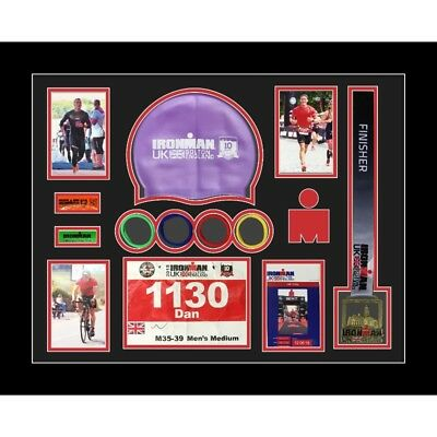 Ironman Bolton 2018 triathlon marathon running medal swimming caps display frame