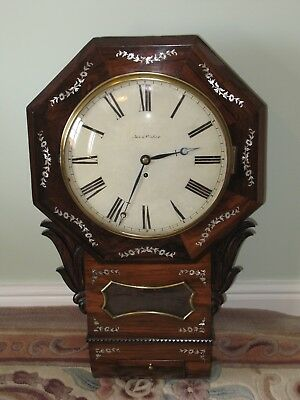 Antique rose wood with mother of pearl inlay fusee drop dail wall clock