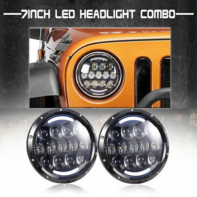 "LED HALO Hi/Lo 2Headlights Turn Amber Crystal H4 7"" for Mazda Miata MX5 MX-5 Dot"