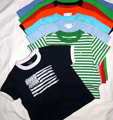 Polo Ralph Lauren Pony T Shirt Boy 9 12 24 Month 2T Baby Toddler NWT USA FLAG