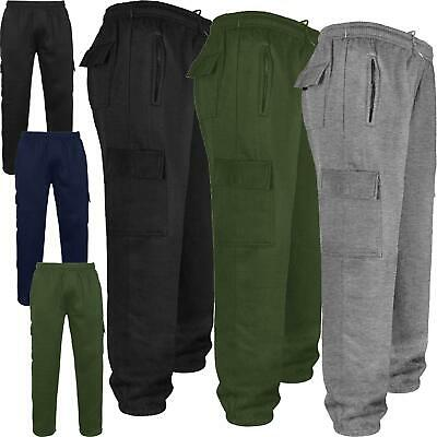 Mens Elasticated Gym Joggers Cargo Combat Jogging Trousers Tracksuit Bottoms New