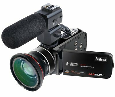 Besteker Wifi Camcorder Full HD 1080P 30FPS Portable Digital Video Camera with E