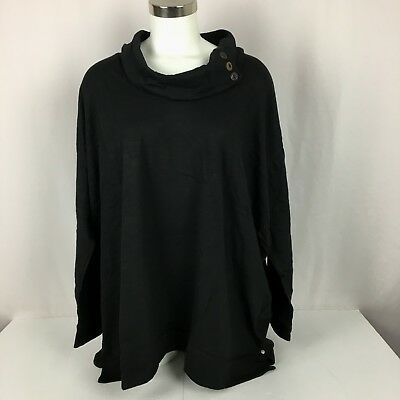NWT Neon Buddha Anita Cowl Neck Women's Plus Size 3X Black Cotton Solid Knit