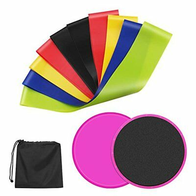 Resistance Loop Bands and Exercise Sliders Set 5 Elastic Bands + 2 Gliding Discs