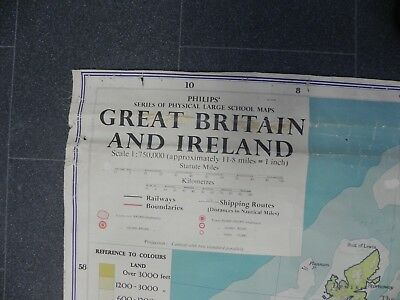 Map Of Great Britan And Northern - Vintage Philips School Room Map - Large 4x6ft