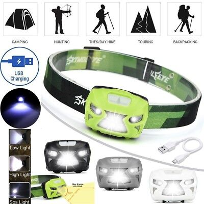 12000LM LED Motion Sensor Headlamp Headlight USB Rechargeable Torch+Batt.+Cable