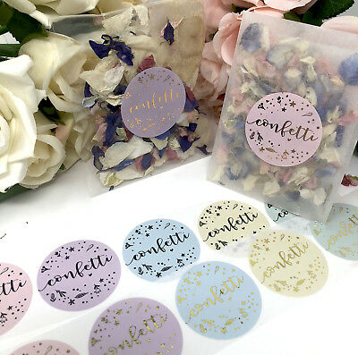 Confetti FLORAL stickers & Glassine bags foil rose gold,silver wedding  x 10