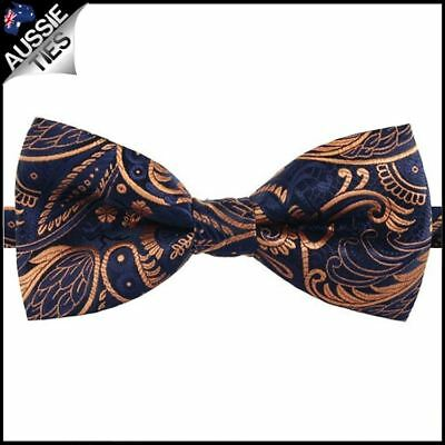 Dark Blue with Gold Plume Design Bow Tie Men's Bowtie