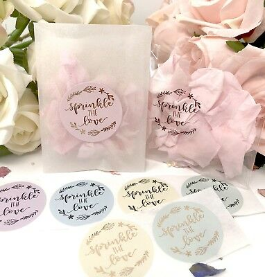 Sprinkle the love colour stickers & Glassine bags foil rose gold,silver wedding