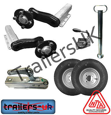 "Unbraked Trailer Suspension Kit6 - 8"" Wheels, Pressed Hitch, Prop - NEXT DAY DEL"