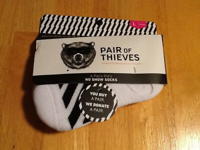 Pair Of Thieves Kids White & Black No Show Socks Size Large 9-12 Yrs NEW