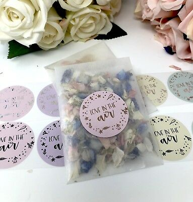 Love is in the air stickers & Glassine  or cello bag foil rose gold,wedding x10