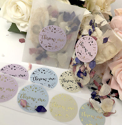 Throw Me FLORAL stickers & Glassine cello bag foil rose gold,wedding