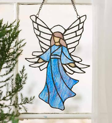 """Stained Glass Angel Indoor Window Art with Hanging Chain, 8""""L x 12""""H"""
