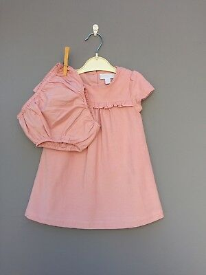 Little White Company. Soft Pink Lined Dress. 9-12m. Excellent condition