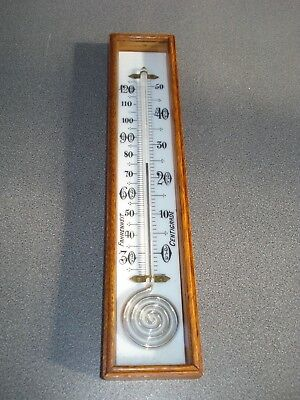 Large Snail / Pigs Tail Thermometer For A Barometer Golden Oak Box Parts Spares