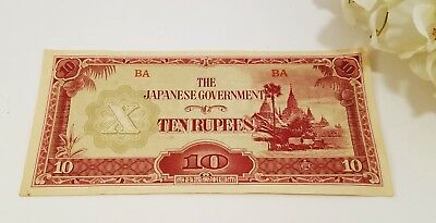 WWII Japanese Government Burmese Paper Bank Note - 10 Rupees