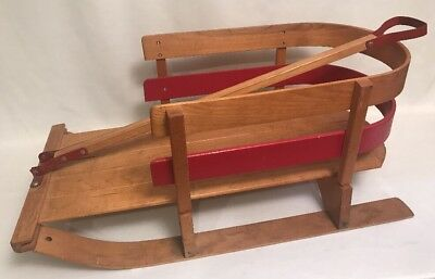 VINTAGE TORPEDO TODDLER SNOW SLED WOODEN  Pull Sled natural wood Red Handle GVC