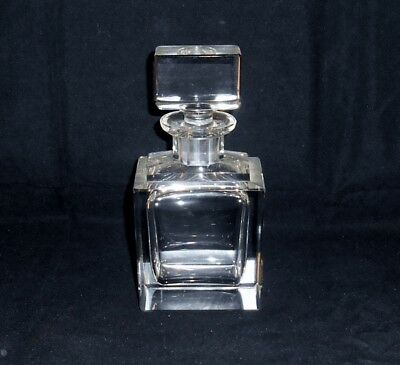 """Cut Crystal Large Perfume Scent Bottle 6 3/4"""" Beveled Edges Heavy Thick Glass"""