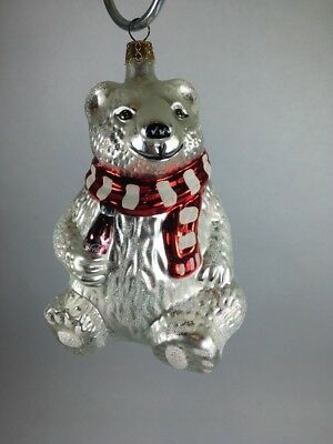 Vintage White Coca-Cola Polar Bear Blown Glass Christmas Ornament