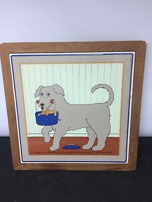 "Vintage Win Ng Doggie Do Good Trivet San Francisco 1982 Dog Cat 9"" X 9"""
