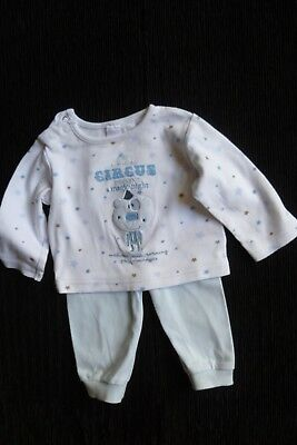 Baby clothes BOY 3-6m outfit long sl. bear/stars top,blue cuff trousers SEE SHOP