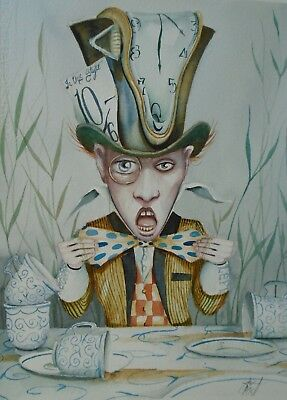 Dominic Murphy Original Art Watercolour Alice in Wonderland Spiller  Mad Hatter