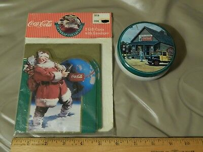 """Coca-Cola ~Coke~ [LOT of 2] Santa Gift Cards + Candle w/ Tin """"Smith's Grocery"""""""